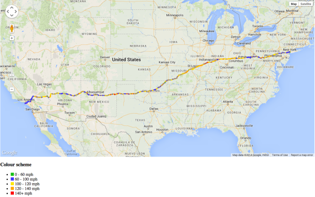 WhiskeyGolf's Google Maps Depiction of the Ed Bolian Cannonball Record Route & Data