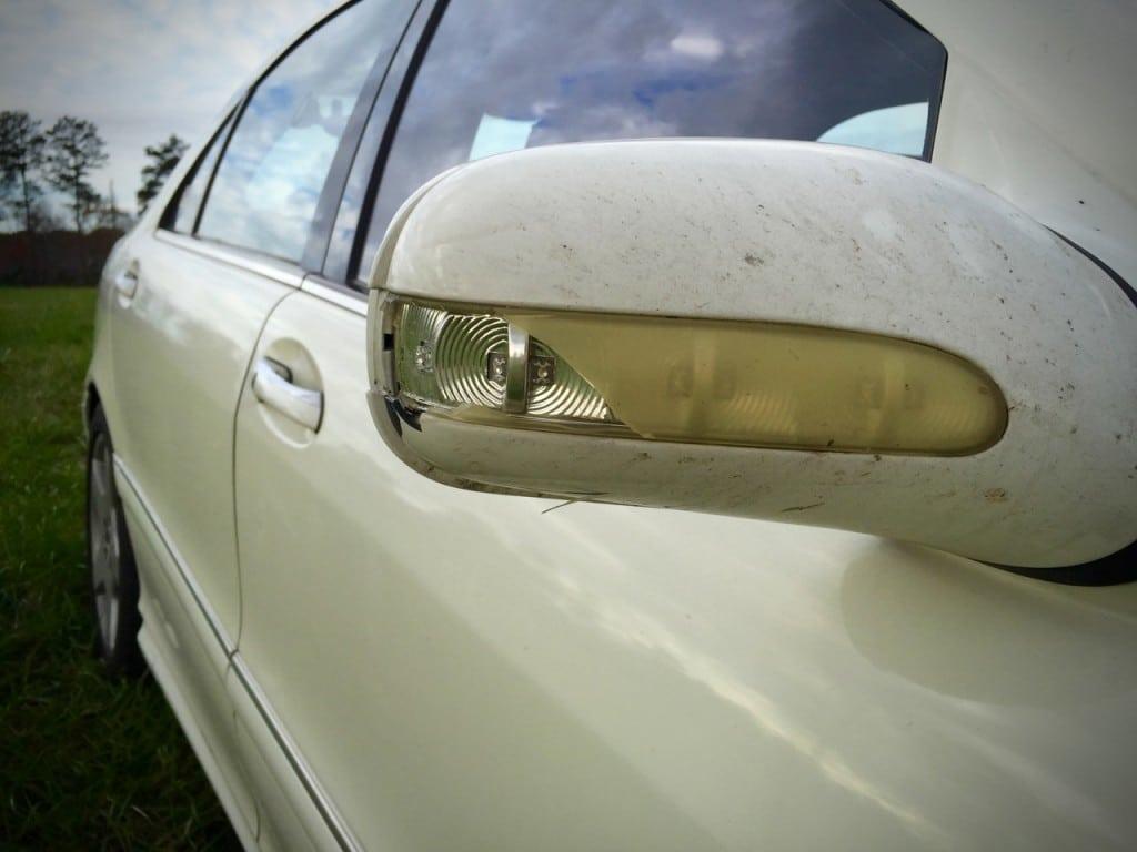 Cracked Mercedes Side Mirror