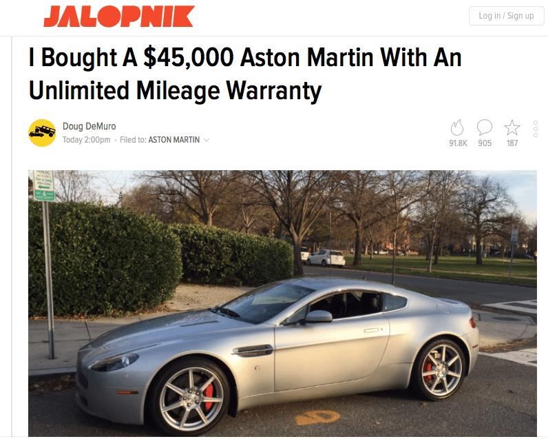 Doug Demuro Aston Martin Vantage